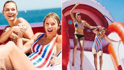 Swift had a large inflatable slide set up in the backyard of her home. The slide reportedly had the word 'TAYMERICA' printed on the side. She purchased the home for US$17 million in 2013. (Instagram: @karliekloss)