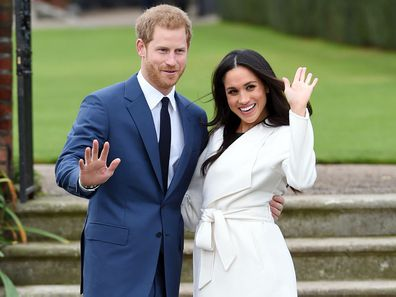 Prince Harry and Meghan Markle announce their engagement at Kensington Palace in November 2017.