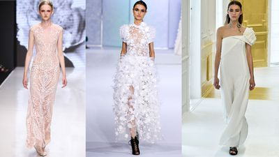 While their price-tags might be prohibitive (upwards of $50,000) couture gowns are endlessly inspiring. Whether classic and clean or avant-garde and audacious, these white dresses are perfect material for pure fantasy.
