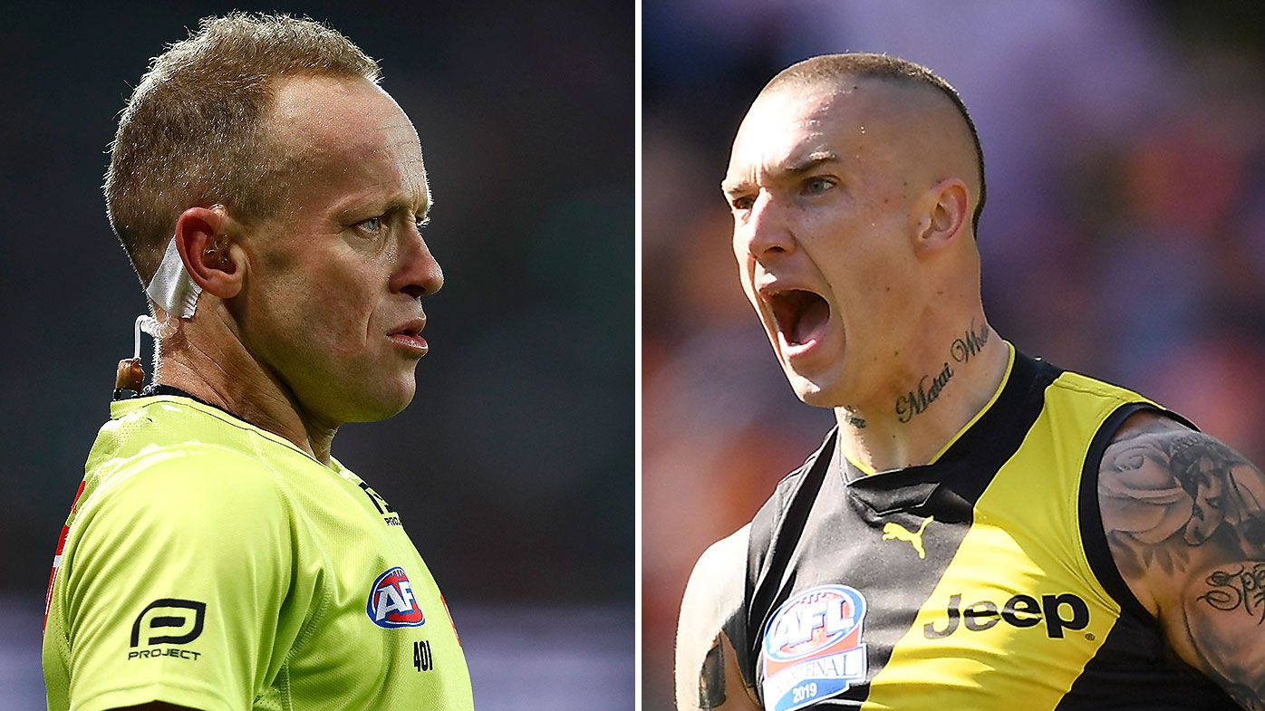 Veteran AFL umpire reveals Dustin Martin's kind gesture after foul-mouthed spray in 2019 Grand Final