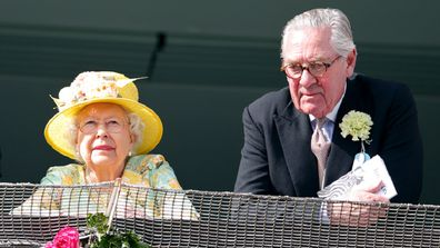 John Warren, Queen Elizabeth II and Lord Samuel Vestey watch the racing as they attend Derby Day during the Investec Derby Festival at Epsom Racecourse on June 3, 2017 in Epsom, England.