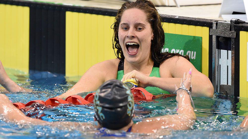 Belinda Hocking reacts after her shock win. (AAP)