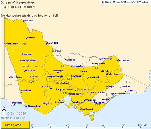 Weather warning for Victoria. (BOM)