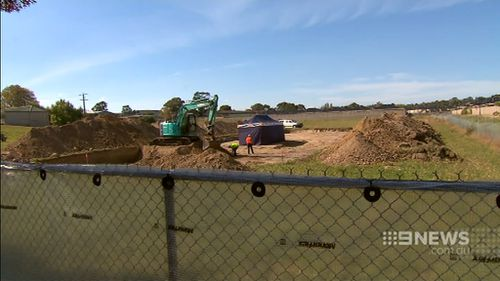 Police have been digging up the site since Monday but have not yet found anything. (9NEWS)