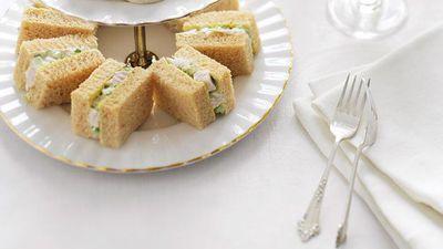 """Recipe: <a href=""""https://kitchen.nine.com.au/2016/05/16/11/43/chicken-and-almond-finger-sandwiches"""" target=""""_top"""">Chicken and almond finger sandwiches</a>"""