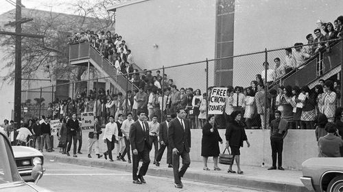 Protesters during the Theodore Roosevelt High School walkout in 1968. (UCLA Chicano Studies Research Centre)