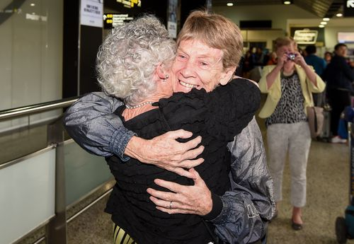 Fox was greeted by dozens of people at Melbourne Airport this morning.