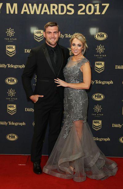 Kyle Feldt of the Cowboys with partner Deanna Finn. (Getty)