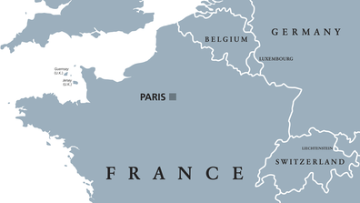 Map of France and Belgium