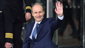 Fianna Fail leader Micheal Martin waves to the gathered media after being elected Taoiseach at the Convention Centre on June 27, 2020 in Dublin, Ireland.