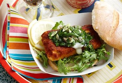 Crumbed fish rolls with tartare salad