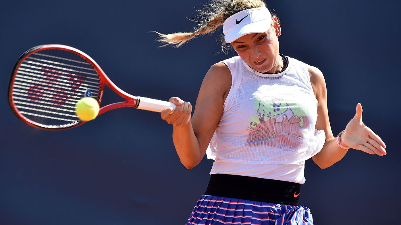 Donna Vekic of Croatia returns a shot against Arantxa Rus of Netherlands at the Palermo Ladies Open.
