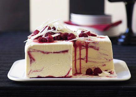 White chocolate and raspberry-ripple ice-cream cake