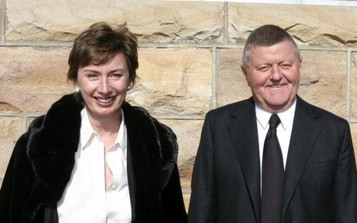 TV executive Sam Chisholm and wife Sue pictured here in 2005. Sue was by her husband's side alongside Chisholm's daughter from his first marriage when he died on Monday night. Picture: Getty