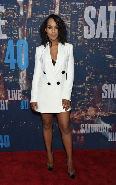 Kerry Washington in Adam Lippes at the SNL 40th Anniversary Special in New York, February, 2017