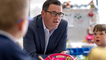 Premier Daniel Andrews meets children at a school in Victoria.