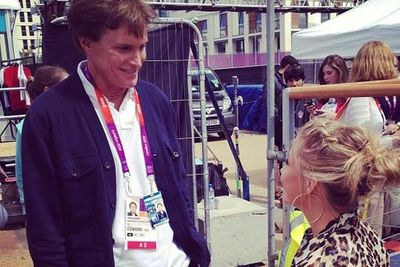 Kardashian stepfather Bruce Jenner meets fellow Olympian Shawn Johnson.