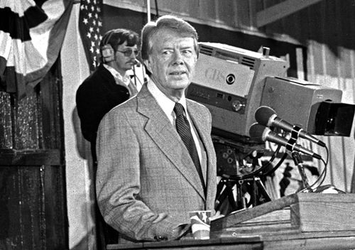 United States President-elect Jimmy Carter holds a post-election press conference in Plains, Georgia on November 3, 1976