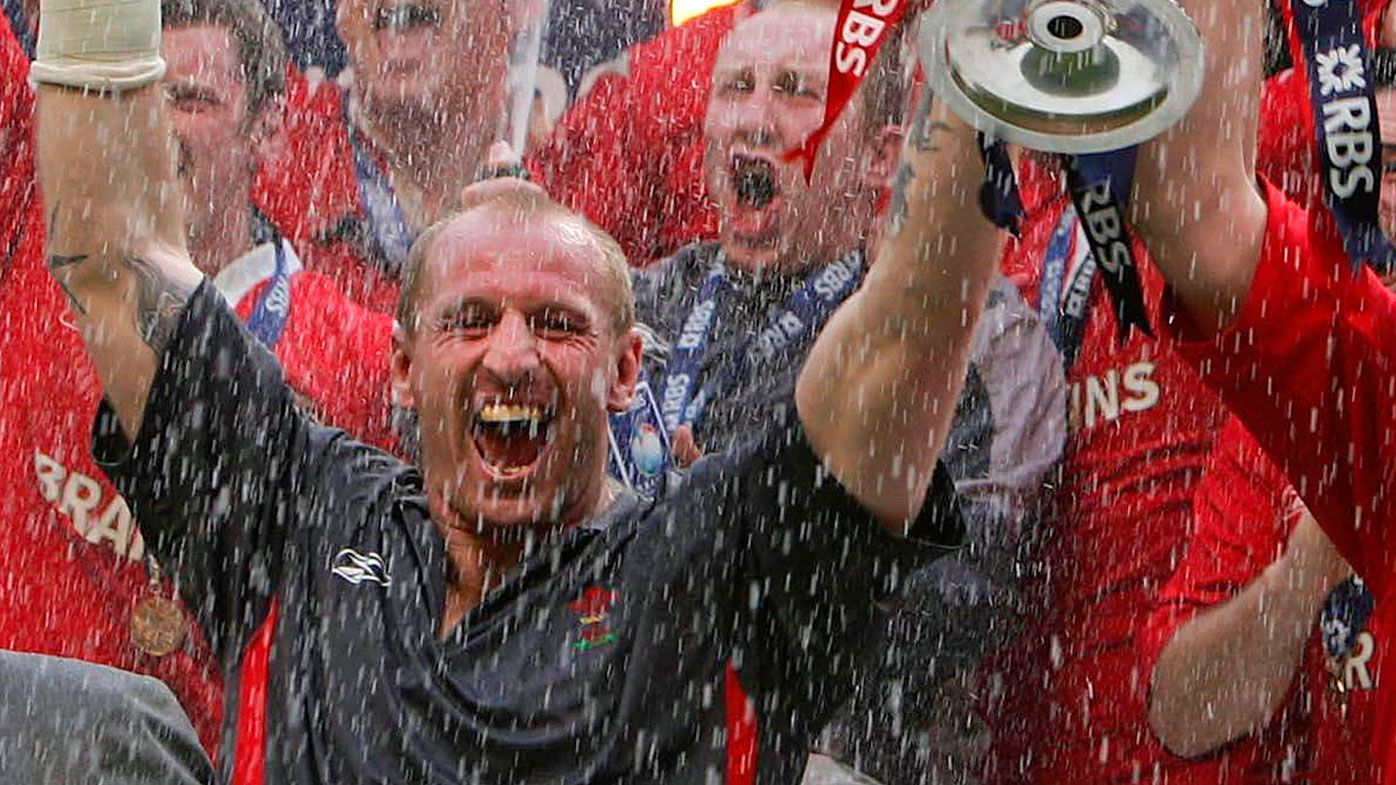2005 file photo of Wales captain holding the Six Nations Trophy