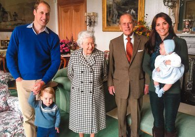 Prince William, Prince George, the Queen, Prince Philip and Kate Middleton with baby Princess Charlotte at Balmoral in 2015.