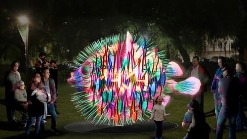 Fugu is a kinetic lighting sculpture at The Rocks