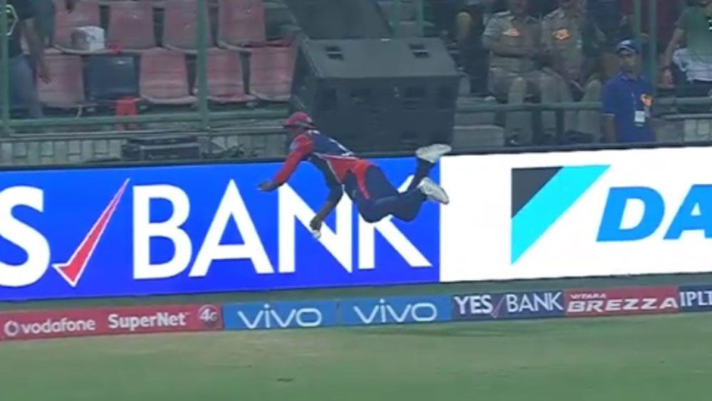 Delhi Daredevils' Sanju Samson saves certain six against Kolkata Knight Riders in IPL