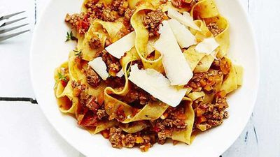 """Recipe: <a href=""""https://kitchen.nine.com.au/2016/05/05/11/32/lamb-and-thyme-pappardelle"""" target=""""_top"""">Lamb and thyme pappardelle recipe</a>"""