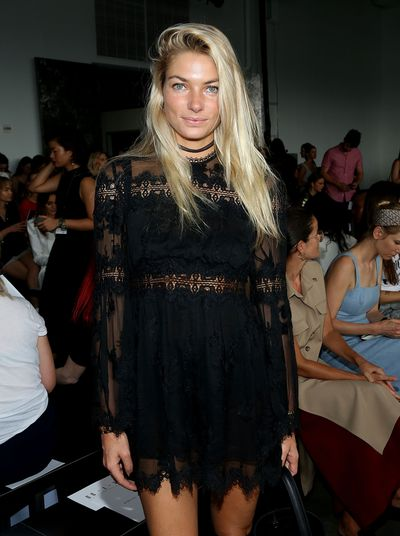 Jess Hart front row at Dion Lee, New York Fashion Week