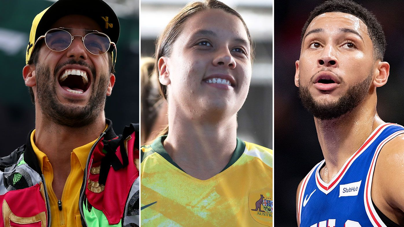 Daniel Ricciardo, Sam Kerr and Ben Simmons