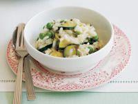 Zucchini, pea and mint risotto