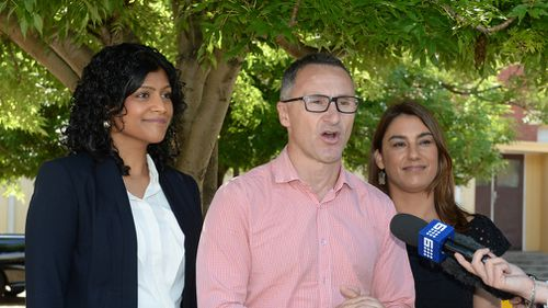 Greens' Northcote candidate Lidia Thorpe (R) with Samantha Ratnam (L) and Richard Di Natale during a press conference at the State by-election for the Northcote District at Thornbury Primary school in Melbourne. (AAP)