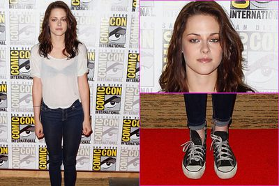 Kristen Stewart just can't look good dressed up. She's pretty much pro at the 't-shirt been through the washer too many times' look... paired of course with skinny jeans and Converse sneakers. Oh, and that: 'I don't give a damn what you think' expression.