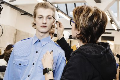 It was all about groomed eyebrows at the No. 21 show in Milan. Try the Tom Ford men's brow gel comb from David Jones, $72.
