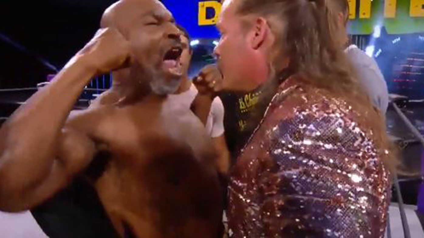 Mike Tyson and Chris Jericho's face-off descended into an all-in brawl.