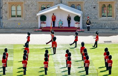 A scaled-down Trooping The Colour at Windsor Castle in 2020.