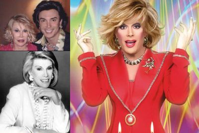 """Joan Rivers impersonator Frank Marino has had 10 surgeries to keep his own face up to date with his doppelganger's surgically altered mug (see top left pic for a comparison of the pair). The performer's website reads: """"Frank Marino usually keeps his audiences in stitches but on his off time the doctors keep him in stitches. His personal motto has always been 'No pain, no gain.'"""""""