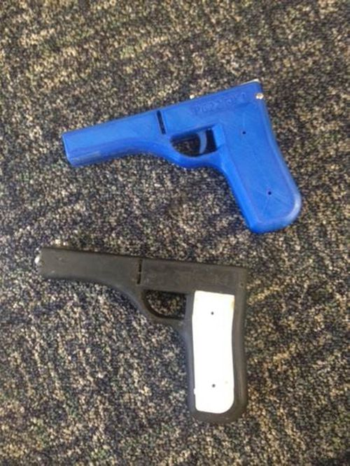 Police said that the weapons were so-well made that they mirrored an officer's Glock handgun. Picture: Supplied.