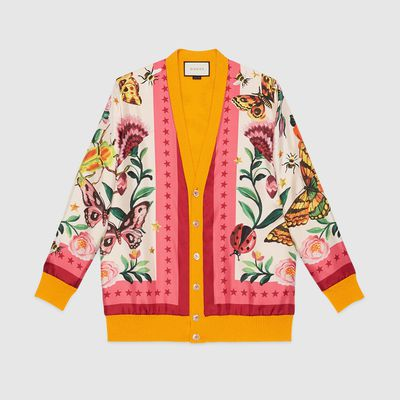"Reversible Cardigan, $2,715, <a href=""https://www.gucci.com/au/en_au/pr/women/womens-ready-to-wear/womens-sweaters-cardigans/womens-cardigans/gucci-garden-exclusive-reversible-cardigan-p-434342XR3087114?position=22&listName=ProductGridComponent&categoryPath=Women/Womens-Ready-to-Wear/Womens-Sweaters-Cardigans"" target=""_blank"">Gucci</a><br />"