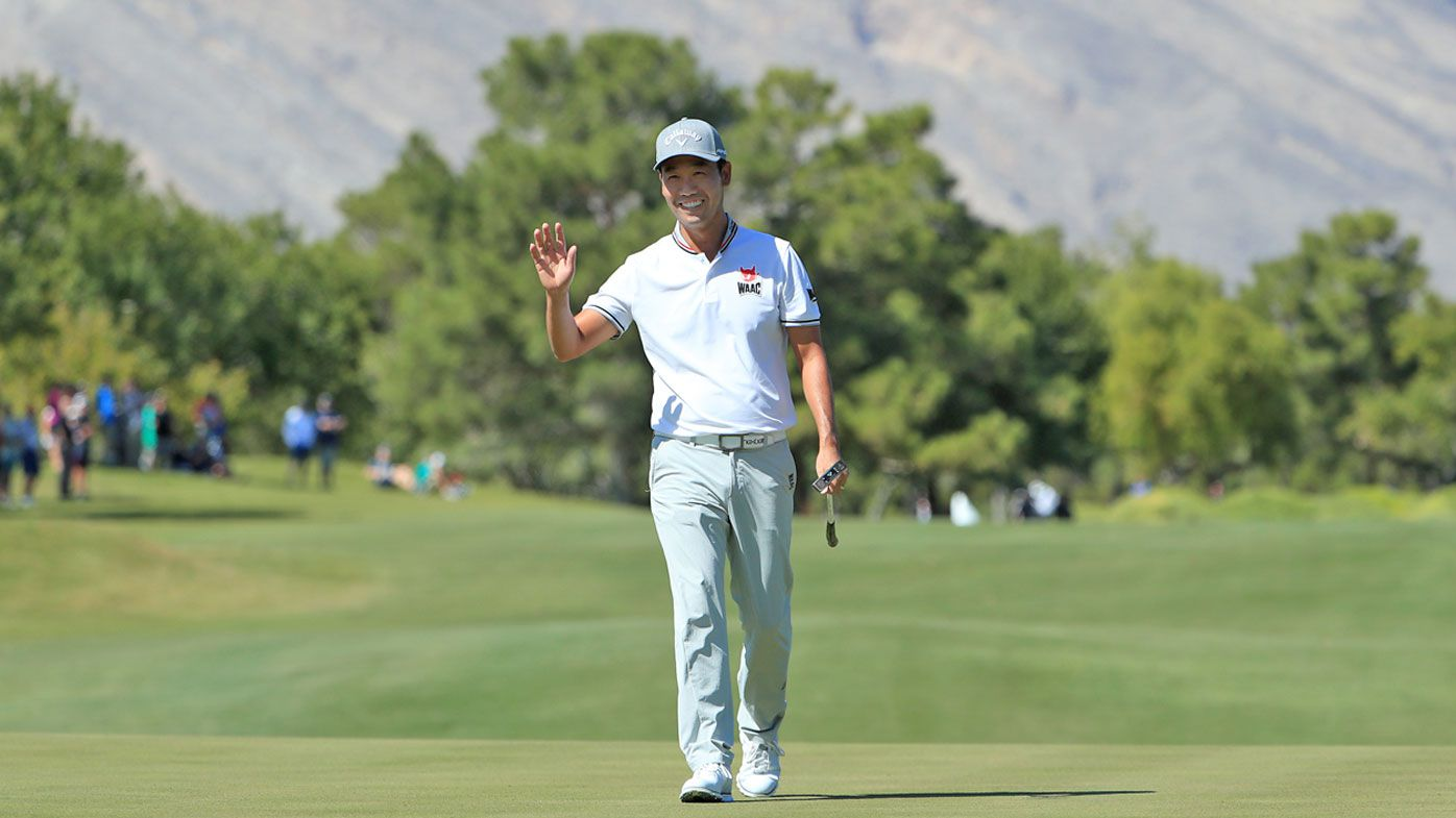 Kevin Na reacts after a putt on the first green during the second round of the Shriners Hospitals for Children Open
