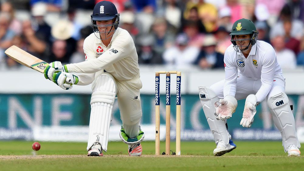 Keaton Jennings play a reverse sweep against South Africa. (AAP)