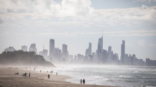 People on a Gold Coast beach last month.