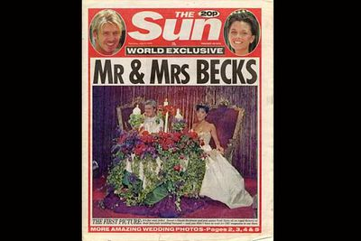 Posh and Becks' 1999 wedding was a glorious affair to rival any royal wedding. Posh wore a bejewelled crown, Becks wore a purple suit, and the newlyweds overlooked their lavish reception from the comfort of matching his and hers thrones. <br/>Here's one thing you wouldn't see at a royal wedding though - the cake featured an edible sculpture of the happy couple wearing nothing but ivy leaves!