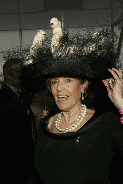 The extravagant hat of Melbourne hairdresser Lillian Frank and the mother of magazine editor Jackie Frank are a Cup Carnival staple. (Derby Day, 2006).