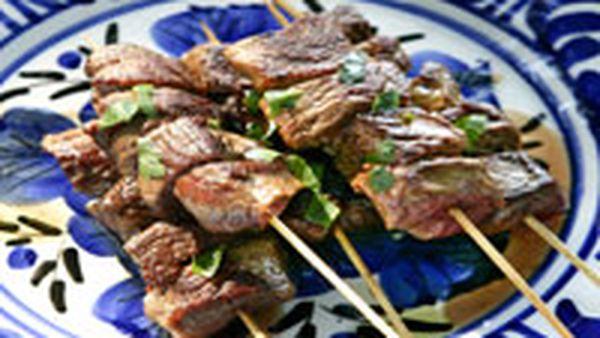 Lamb kebabs with pita and baba ghanoush