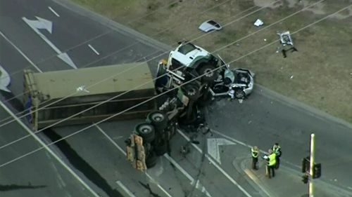 Two of the teenagers were trapped in the car for more than an hour. (9NEWS)