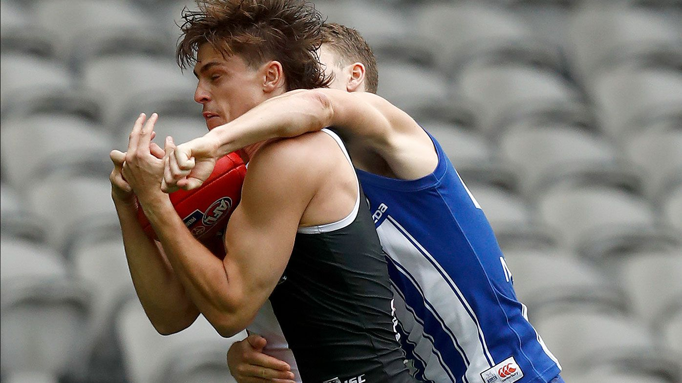 Jack Steele of the Saints marks the ball during the round 1 AFL match between the North Melbourne Kangaroos and the St Kilda Saints at Marvel Stadium