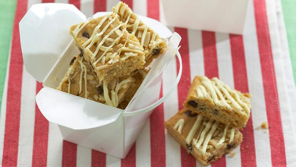 Choc chip and almond slice