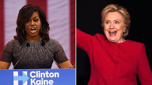 Superstar ally Michelle Obama hits trail with Clinton for the first time