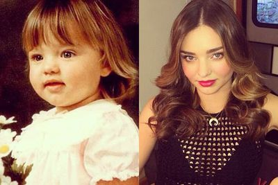 THEN: Look at those chubby cheeks!<br/><br/>NOW: Now a supermodel, Miranda sure knows how to take a smokin' selfie.
