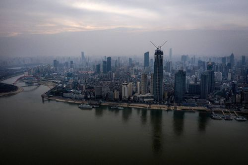 View of the Yangtse river in Wuhan, China on March 4, 2020